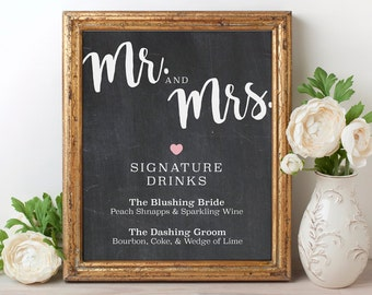 Signature Drink Sign, His & Her Signature Drink Sign, Chalkboard Wedding Drink Sign, Chalkboard Signs, Wedding Signature Drinks