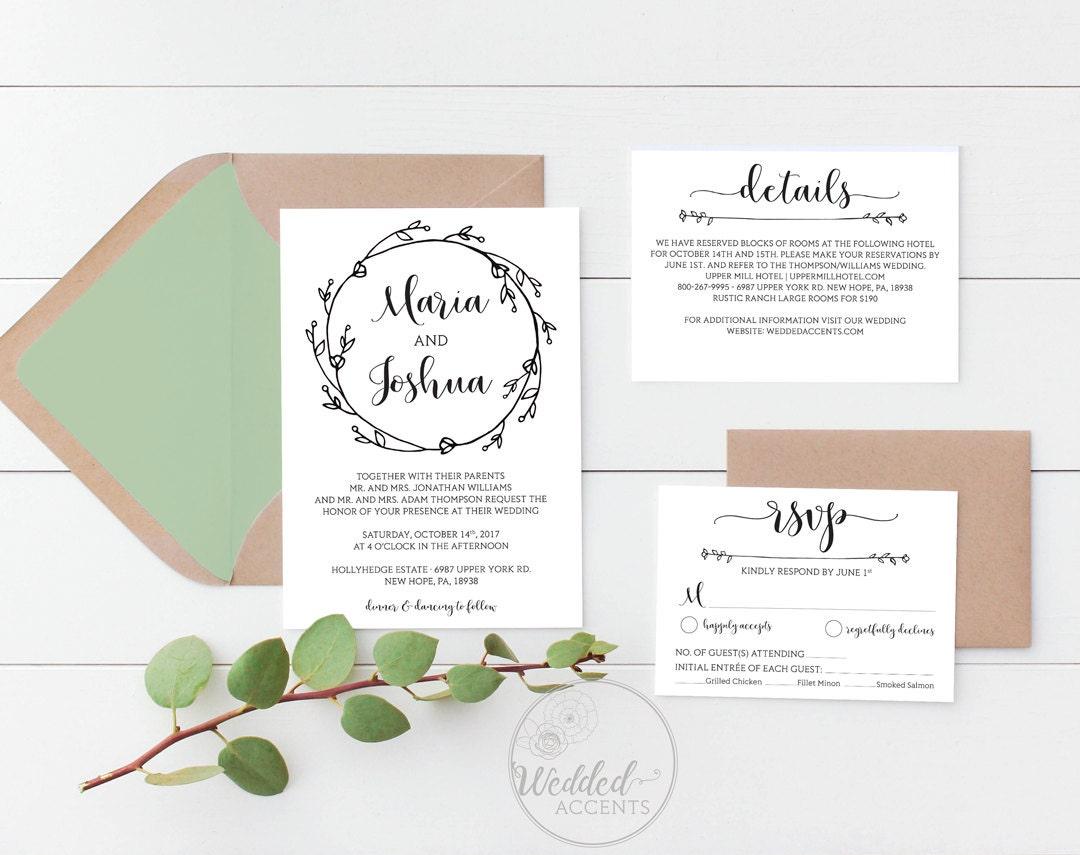 rustic wedding invitation template printable wedding