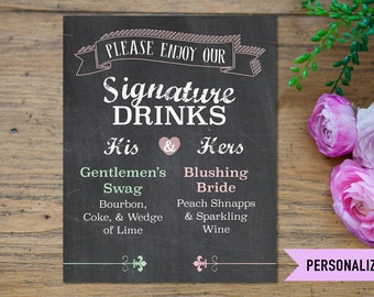 Signature Drink Sign, His & Her Signature Drink Sign, Drink Sign Printable, Wedding Signs, Wedding Printable