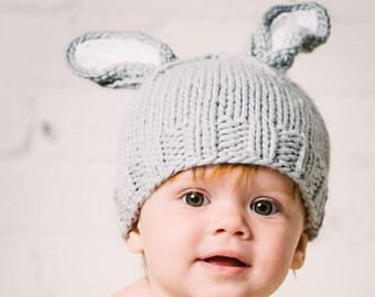 3431c4d7210 Bunny Gray with White Ears Knit Hat for Baby and Child Photo Prop and Gift