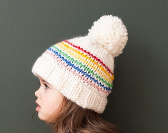 1957efe7223 Cream Beanie with Rainbow Pattern and Pom Hand Knit for Baby and Child