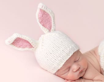 1b57ea6e6f4 Bunny White with Pink Ears Hand Knit Hat for Baby and Child