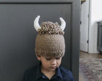 6658ac61b7c Buffalo Hat in Brown with White Horns Knit hat for Baby and Child