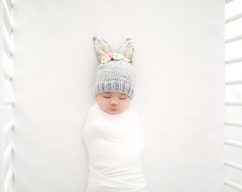 6f6d7803a40 Bunny in Gray with Pink and Cream Flowers Hand Knit Hat for Baby and Child