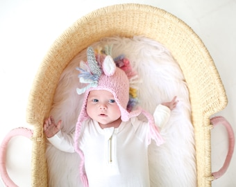 Unicorn Hat for Baby and Child Hand-Knit