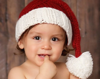 Santa Hand Knit Hat for Baby and Child