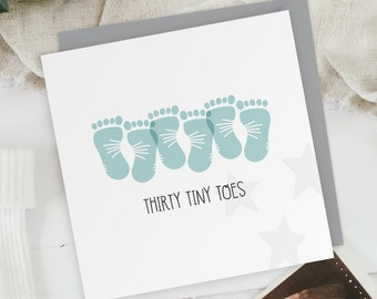 Thirty Tiny Toes - Three Boys - New Baby Triplets Footprints Greeting Card - Baby Shower