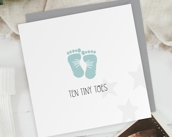 Ten Tiny Toes - Baby Boy - New Baby Footprint Greeting Card - Baby Shower