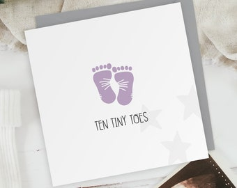 Ten Tiny Toes - Baby Girl - New Baby Footprint Greeting Card - Baby Shower