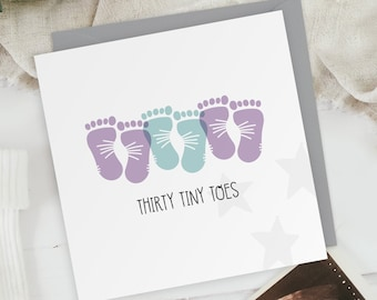 Thirty Tiny Toes - Two Girls One Boy - New Baby Triplets Footprints Greeting Card - Baby Shower