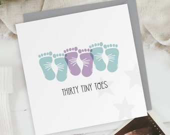 Thirty Tiny Toes - Two Boys One Girl - New Baby Triplets Footprints Greeting Card - Baby Shower