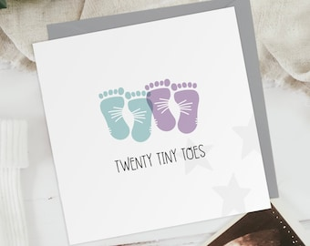 Twenty Tiny Toes - Boy + Girl - New Baby Twins Footprints Greeting Card - Baby Shower