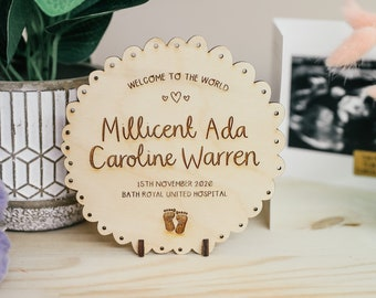 Personalised Baby Plaque - Keepsake Wooden Shelf Ornament with Birth Details
