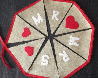 Wedding Bunting - Mr and Mrs - Made To Order - Several Colours