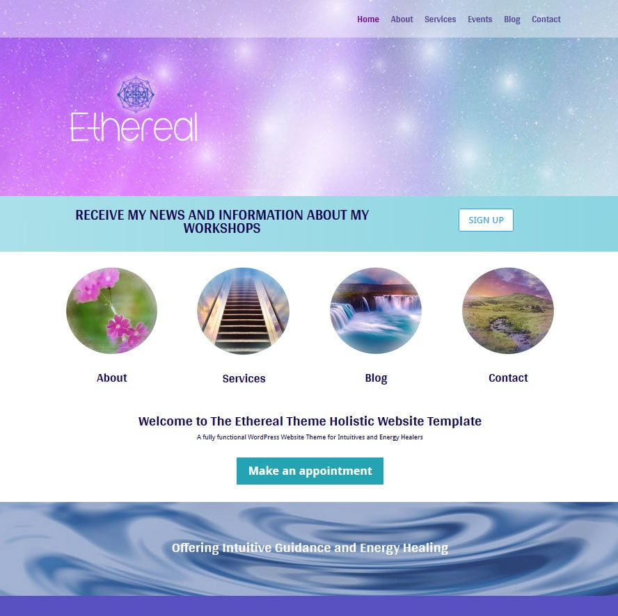 Holistic Wordpress Website Template for Psychics and Energy Healers, Divi  Theme Page Layouts