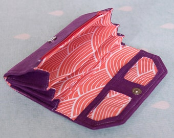 Clutch wallet sewing pattern and tutorial, accordion fold wallet pattern - instant download - p004