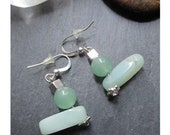 quot Amazonite and Aventurine Pearls quot earring on silver metal