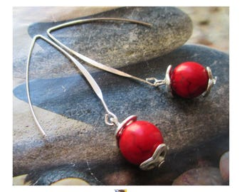 """Earring """"Maxi Pearl Howlite"""" red on long silver plated clasp"""