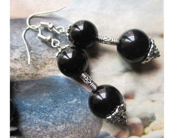 "Earring ""Duo maxi onyx beads"" on silver metal"