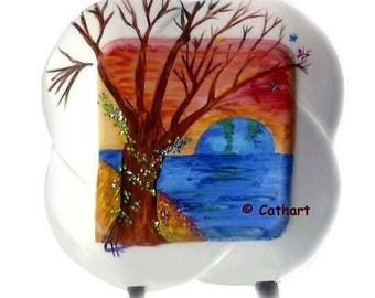 """""""Blue"""" Earth""""hand painted stoneware decorative plate - painting abstract, symbolic"""