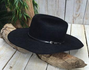 8237299b8140f4 Resistol 6 7/8 Beaver Hat 4 XXXX, Western Hat, Beaver Fur Hat, Black Cowboy  Hat, Texas Hat, Self Conforming Hat, long oval hat, Man Hat
