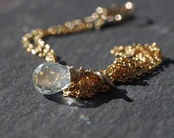 Gold Aquamarine Necklace, Faceted Aquamarine Drop Gold Collar Necklace Dainty Aquamarine Necklace Gold Necklace March Birthstone Necklace