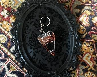 Orange and black planchette keychain | halloween keychain | ouija accessories