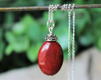 1 Pendant,Sterling Silver Pendant,Blood stone,Coconut Jasper,Natural Jasper,Pendant,Necklace Pendant,Stone Pendant,Jasper,Gemstone,Wholesale
