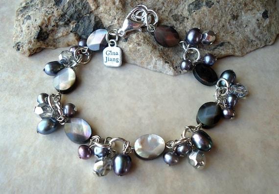 Handmade Mother of Pearls Cluster Bracelet.Peacock freshwater pearls.Crystal.Smoky Black.Sterling Silver plated.Beadwork.Bridal.Formal.Gift