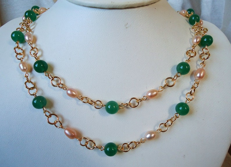 Long Necklace.Emerald Green.Jade Gemstone.Freashwater pearl.Metal.Gold.Silver.Lariat.Double Strand.Layering.Statement.Bridal.Gift.Handmade.