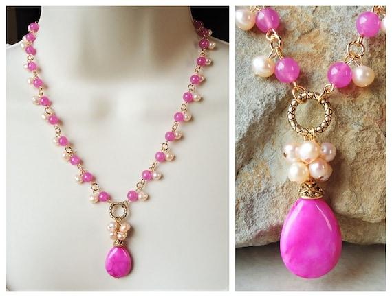 Red Garnet Cluster Necklace.Multi Gemstone.Jade Pendant.Purple Amethyst.Bridal.Multi colors.Lariat.Gold.Silver.Beaded.Colorful.Handmade.