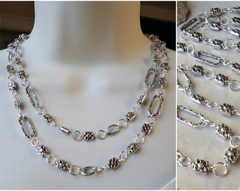 Long Necklace.Silver.Hammered.Metal.Lariat Necklace.Double Strand.Statement Necklace.Chain.Links.Bridal.Chunky.Modern.Layering. Handmade.