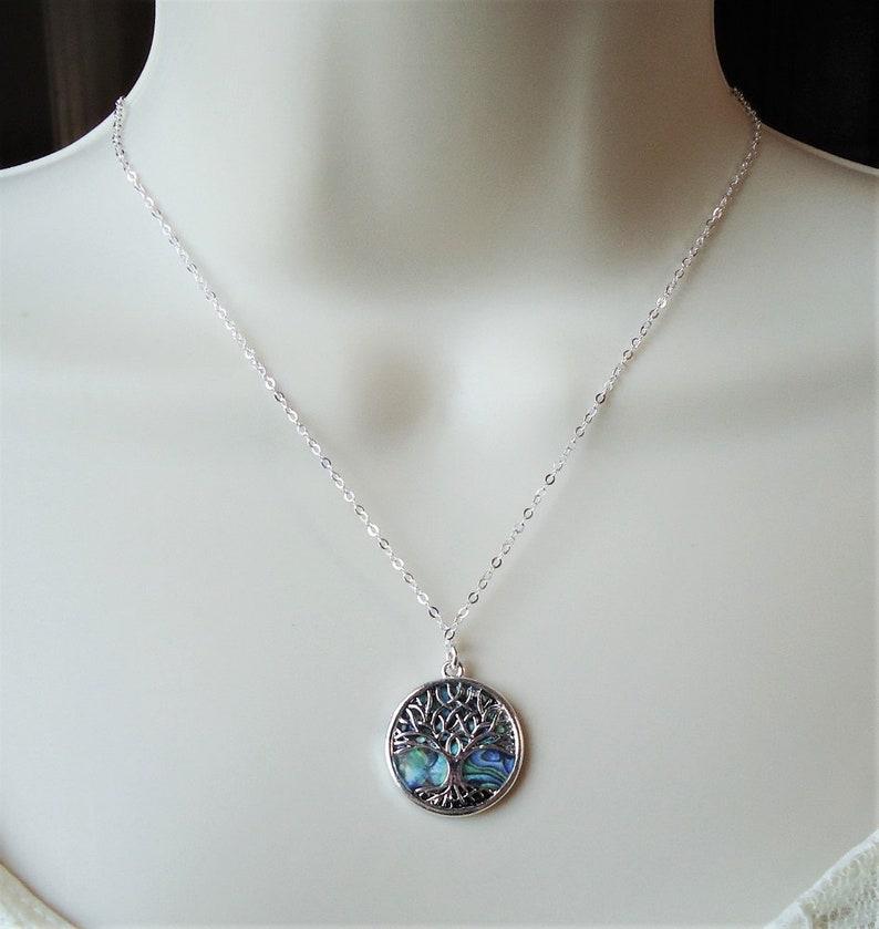 Tree of Life Pendant Necklace.Sterling Silver Chain.Abalone Shell.Metal.Silver.Judaica.Hanukkah.Bat-Mitzvah.Bridal.Bridesmaid.Gift.Handmade.