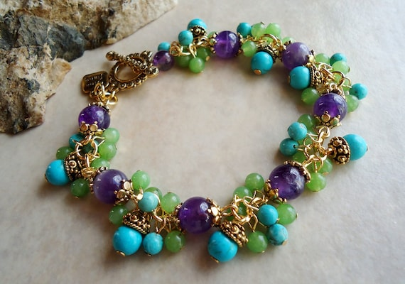 Multi Gemstones Cluster Bracelet.Red Coral.Blue Turquoise Stone.24k Gold plated.Beadwork.Bridal.Chunky.Colorful.Statement.Toggle.Handmade.