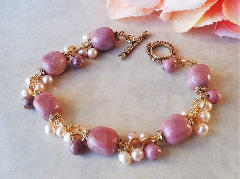 Pink Rhodochrosite Stone Cluster Bracelet.Freshwater Pearl.Toggle.Gold.Silver.Beadwork.Bridal.Statement.Chunky.Gemstone.Wedding.Handmade.