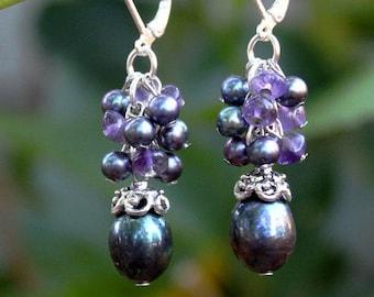 Baroque Black Pearl.Multi Gemstones.Cluster Earrings.Silver.Gold.Drop.Dangle Earring.Bridal.Statement.Amethyst.Purple.Formal.Gift.Handmade.