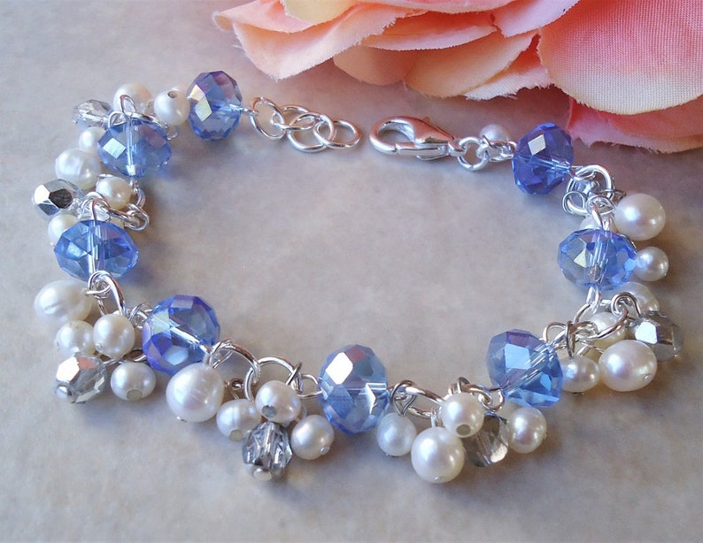 Sapphire Blue Cluster Bracelet.White freshwater pearls.Crystal.Silver.Gold.Beadwork.Bridal.Bridesmaid.Statement.Chunky.Formal.Gift.Handmade