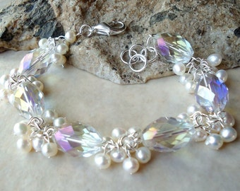 White Pearls Cluster Bracelet.Swarovski Crystals.Wedding.Sterling Silver Plated.Beadwork.Bridal.Statement.Mother's.Birthday.Gift.Handmade