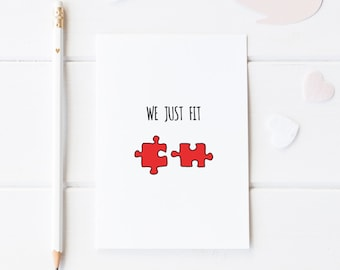 We Just Fit, Pun Anniversary For Him, Funny Anniversary Card, First Anniversary For Her, Jigsaw Pieces Card, Anniversary Card For Wife