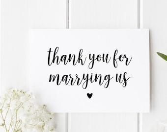 Thank You Wedding Card, Thankyou Officiant Card, Thank You For Marrying Us, Card To Priest, Card To Judge, Thank You Officiant Wedding Card