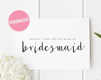 Bridesmaid Thank You Card Etsy