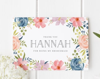 Personalized Bridesmaid Thank You, Floral Bridesmaid Card, Thank You Bridesmaid, Flower Bridesmaid Card, Thank You For Being My Bridesmaid