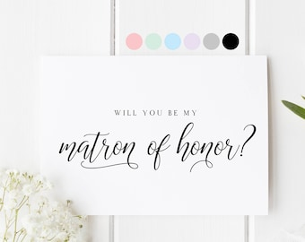matron of honor card etsy