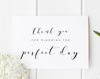 Thank You Wedding Planner Card, Card For Wedding Planner, Thank You For Planning The Perfect Day, Card For Wedding Planner, Wedding Thankyou