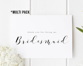 MULTI PACK Thank You Bridesmaid Cards, Wedding Thank You, Bridesmaid Thank You Card, Thank You For Being My Bridesmaid, Maid of Honour