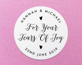 Personalised Tears Of Joy Stickers, Happy Tears Label,  Wedding Tissues Label, Wedding Tears Sticker, For Your Tears Of Joy Stickers