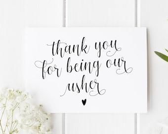 Card For Usher, Thank You Usher Card, Usher Card, Wedding Thank You Card, Card For Usher, Thank You For Being Our Usher, Usher Thank You