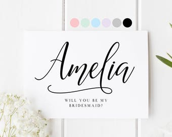 Bridesmaid Proposal Card, Personalized Name Bridesmaid Card, Will You Be My Bridesmaid, Bridesmaid Request Card, Be My Bridesmaid, Custom