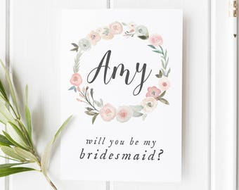 Bridesmaid Card, Will You Be My Bridesmaid? Pretty Flower Girl Card, Maid Of Honor Card, Card For Bridesmaid, Pretty Be My Bridesmaid Card