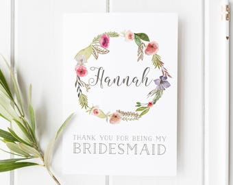 Thank You For Being My Bridesmaid, Card For Bridesmaid, Pretty Flower Girl Card, Maid Of Honor Card, Wreath Bridesmaid Card, Summer Wedding